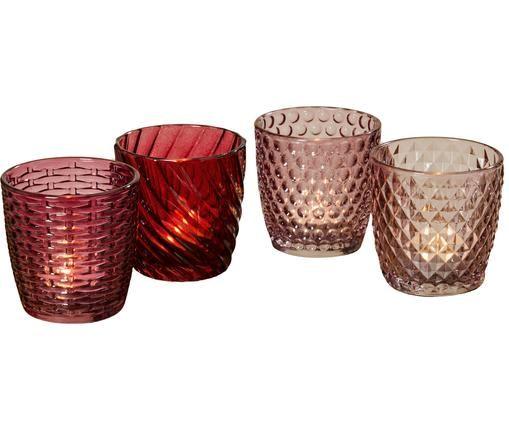 Set di 4 portalumini Marila, Vetro verniciato, Rosa, rosso, Ø 9 x Alt. 9 cm