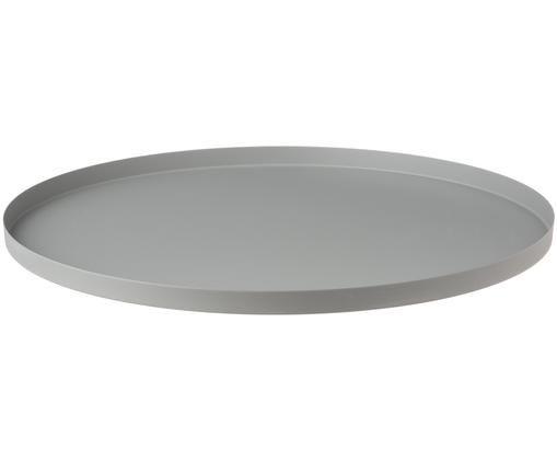 Rundes Deko-Tablett Circle in Grau, Edelstahl, pulverbeschichtet, Grau, Ø 40 x H 2 cm