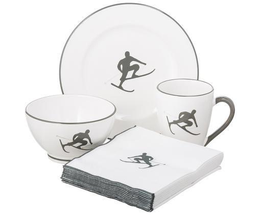 Serwis śniadaniowy Toni, 4 elem., Ceramika, Szary, biały, Różne rozmiary