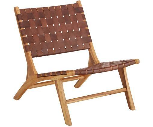 Fotel ze skóry z drewnianą ramą Coffee, Stelaż: drewno tekowe, naturalne, Kolor drewna tekowego, koniakowy, S 63 x G 75 cm