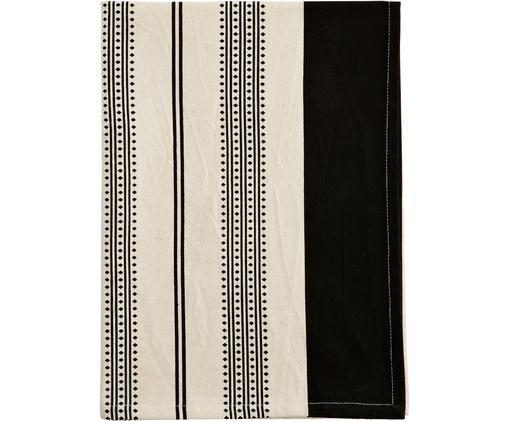 Canovaccio in bianco e nero Minga, Cotone, Bianco latteo, nero, Larg. 50 x Lung. 70 cm