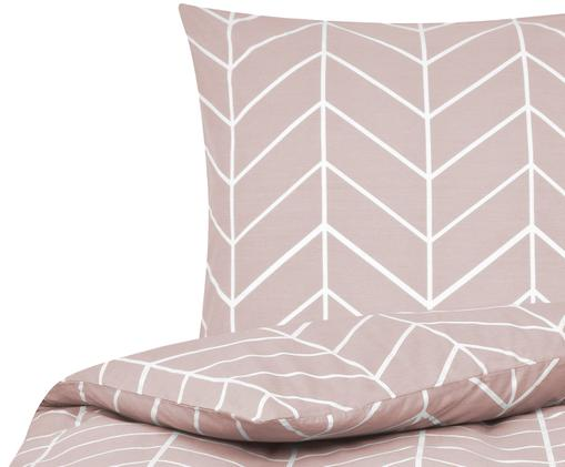 Renforcé-Bettwäsche Mirja mit grafischem Muster, Webart: Renforcé, Altrosa, Cremeweiß, 135 x 200 cm