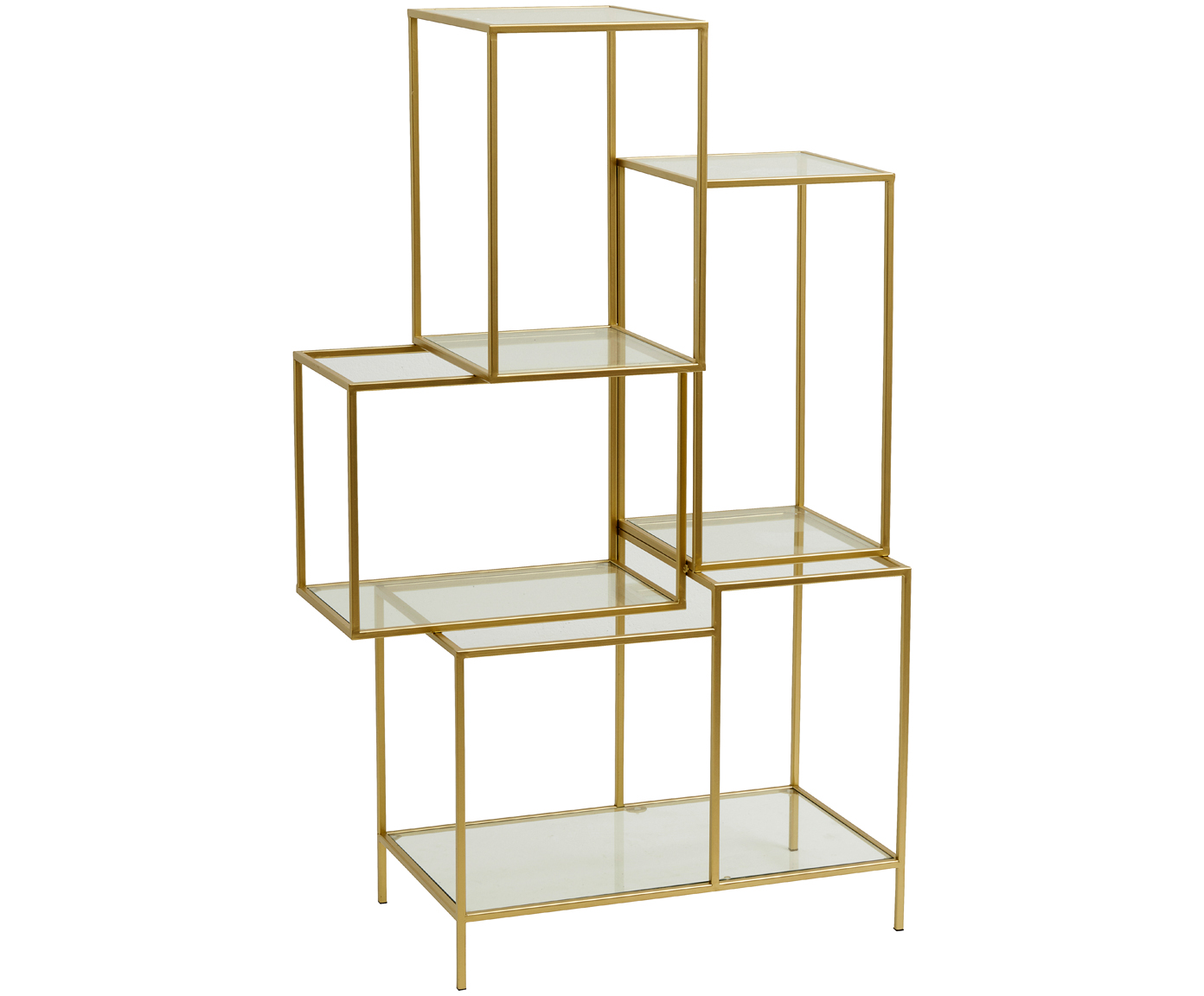 Goldfarbenes Metallregal Rack mit Glasböden