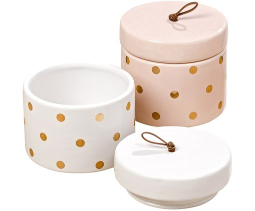 Opbergpottenset Clarice, 2-delig, Wit, roze