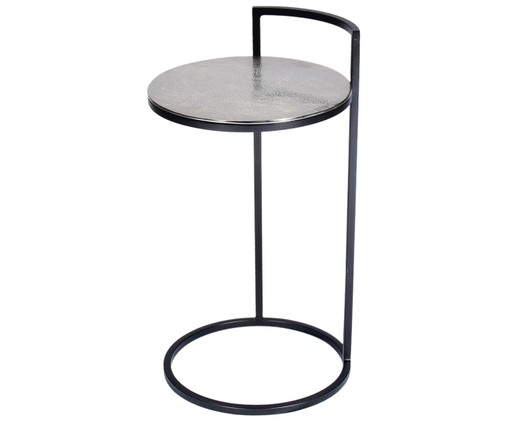 Table d'appoint Circle, Aluminium, finition antiquaire, noir, mat
