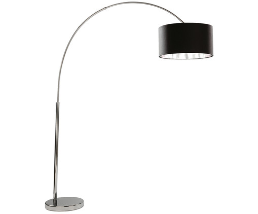 Lampadaire arc Arc, Noir, chrome