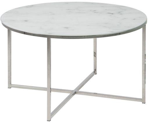 Table basse Antigua avec plateau de verre, Plateau : blanchâtre, surimpression de marbre Structure : chrome