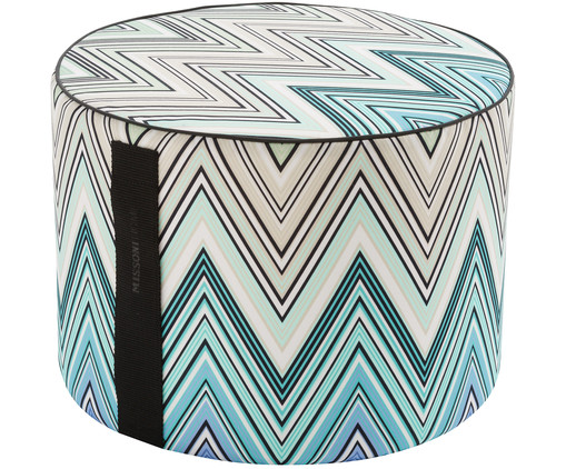 In- en outdoor poef Kew, Multicolour, turquoise