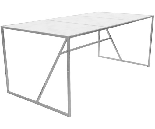 Table New York avec plateau marbré en verre, Blanc, chrome