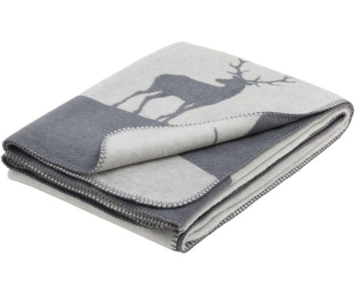 Fleece-Wendeplaid Savona Hirsch, Grau