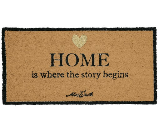Tappeto Home Is Where The Story Begins, Beige, nero, dorato