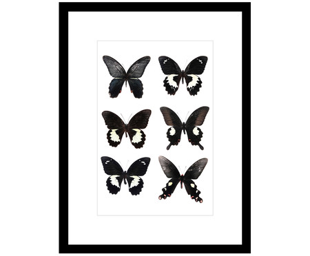 Ingelijste digitale print Butterflies Dark