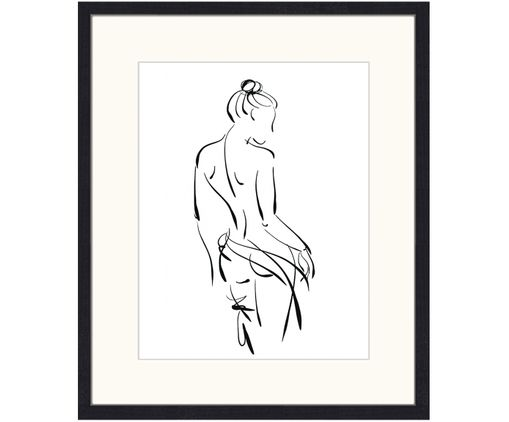 Stampa digitale incorniciata Naked Woman, Nero, bianco