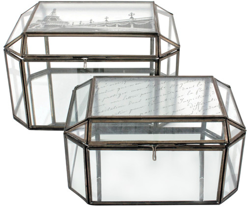 Glasboxen-Set Treasure, 2-tlg., Schwarz, Transparent