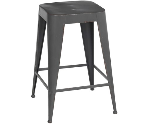 Tabouret Daryl, style industriel, Gris