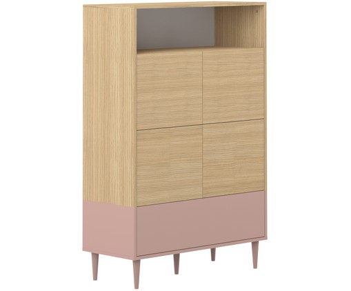 Hoog highboard Horizon in Scandi design, Eikenhoutkleurig, oudroze