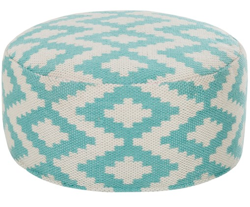 In- & outdoor poef Napua, Turquoise, ecru