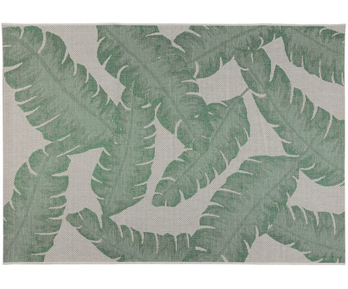 In- en outdoor vloerkleed Bondi Beach, Groen, beige