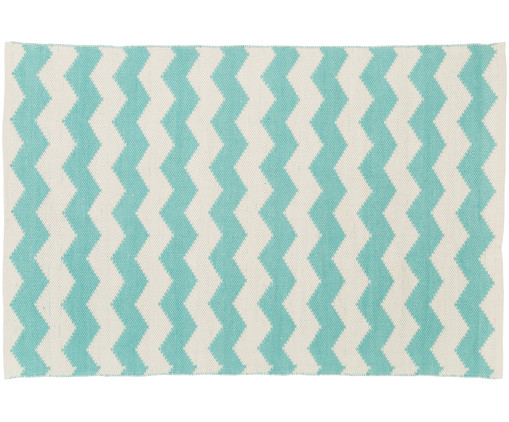 In- & outdoorvloerkleed Bora, Turquoise, ecru