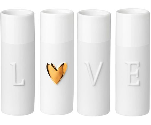 Set 4 vaso in porcellana Love