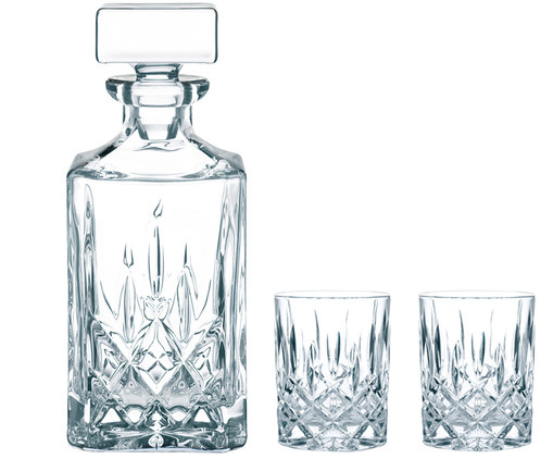 Kristallglas-Whisky-Set Noblesse, 3-tlg., Transparent