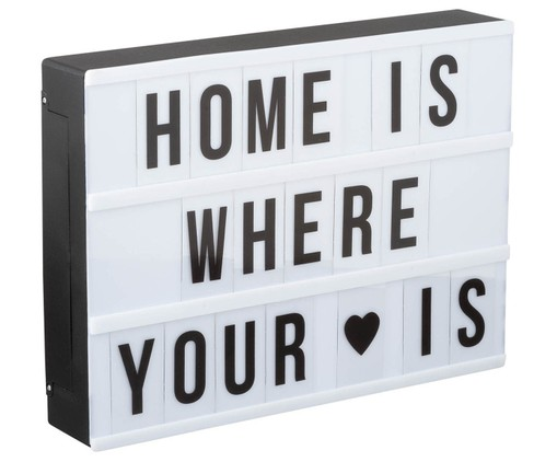 LED lichtbox Inspiration, Box: zwart, wit Letters: transparant, zwart