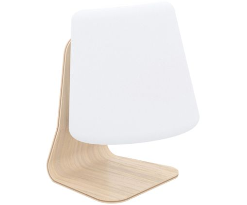 Mobiele LED buitenlamp Table, Wit, lichtbruin