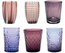 Set de vasos de agua soplados Melting Pot Berry, 6 pzas.