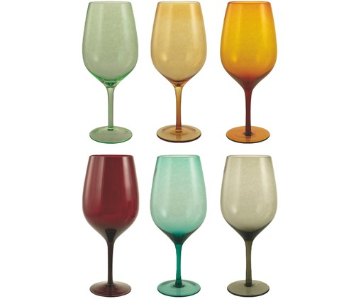 Set 6 bicchieri da vino in multicolore Happy Hour