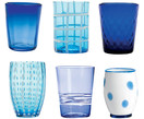 Mondgeblazen waterglazen set Melting Pot Sea, 6-delig