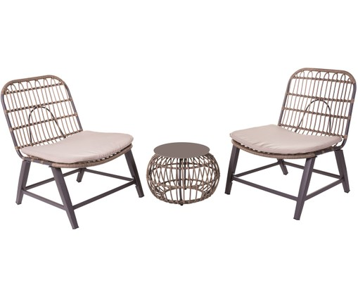 Outdoor loungeset Ariki, 3-delig, Taupe, antraciet