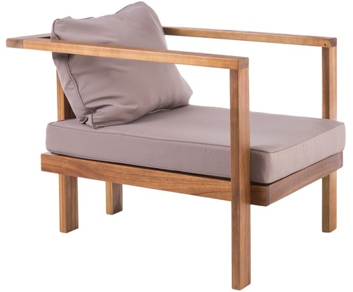 Outdoor-Sessel Christy, Akazienholz, Grau