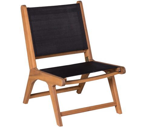 Outdoor loungefauteuil Nina, Zwart