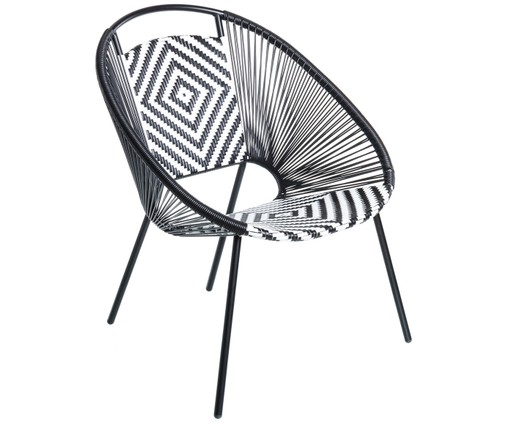 Outdoor fauteuil Wicker, Zwart, wit
