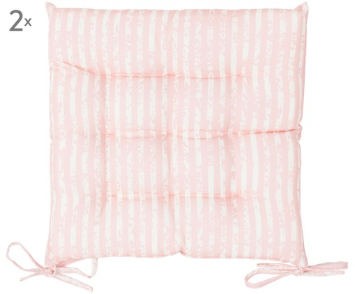 Outdoor zitkussens Little Stripes, 2 stuks, Roze, wit
