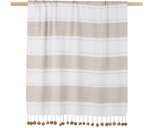 Plaid Pom Pom in Weiss/Taupe