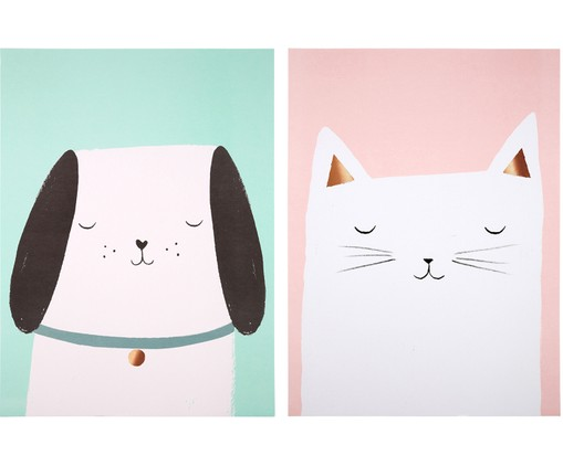 Postersset Cat & Dog, 2-delig