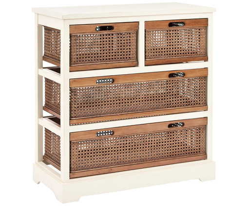 Cassettiera in rattan Bantu, Bianco, marrone