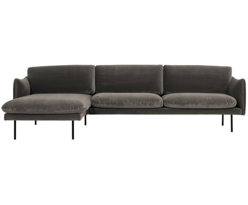 Divano con chaise-longue in velluto Moby, Marrone