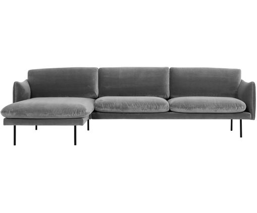 Samt ecksofa moby eckteil links in grau westwingnow for Ecksofa samt
