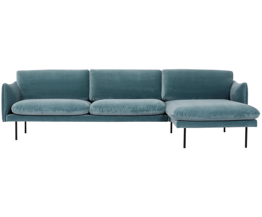 samt ecksofa moby eckteil rechts in blau westwingnow. Black Bedroom Furniture Sets. Home Design Ideas
