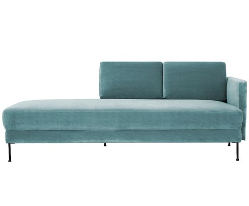 Chaise-longue in velluto Fluente, Turchese