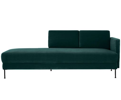 Chaise-longue in velluto Fluente, Verde scuro