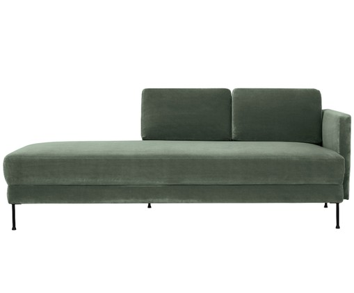Chaise-longue in velluto Fluente, Verde