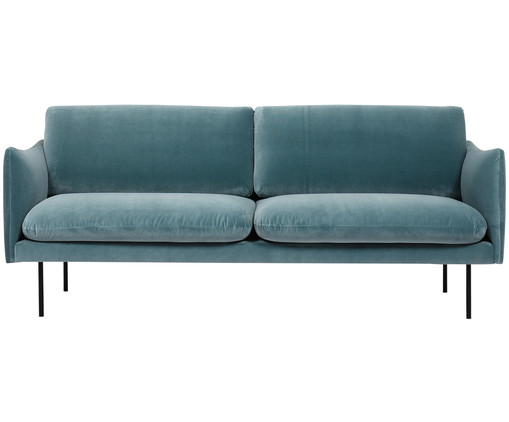 samt sofa moby 2 sitzer in blau westwingnow. Black Bedroom Furniture Sets. Home Design Ideas