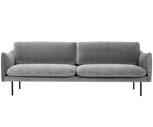 samt sofa moby 3 sitzer in grau westwingnow. Black Bedroom Furniture Sets. Home Design Ideas