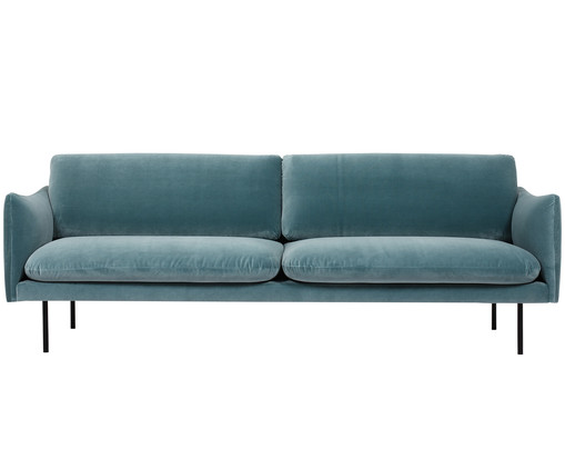 samt sofa moby 3 sitzer in blau westwingnow. Black Bedroom Furniture Sets. Home Design Ideas