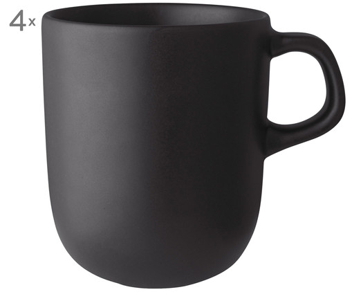 Tazza Nordic Kitchen, 4 pz., Nero opaco