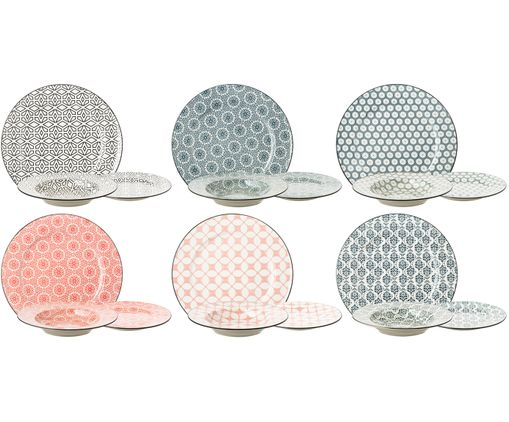 Service de table Piper, 18 pièces, Anthracite, beige, rose blush, tons gris, vert olive