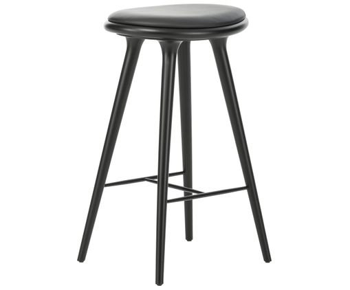 Sgabello da bar high stool di pelle legno in nero westwingnow